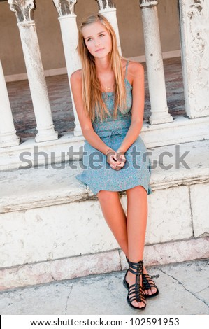 Travel , Verona, Italy - portrait of young girl in historic Verona - stock photo
