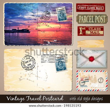 Travel Vintage Postcard Design with antique look and distressed style. Includes a lot of paper elements and postage stamps. - stock photo
