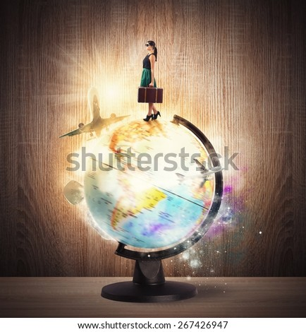 Traveler dreams of turning around the world - stock photo