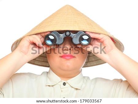 Traveler exploring looking through binoculars . Studio shot isolated on white background  - stock photo