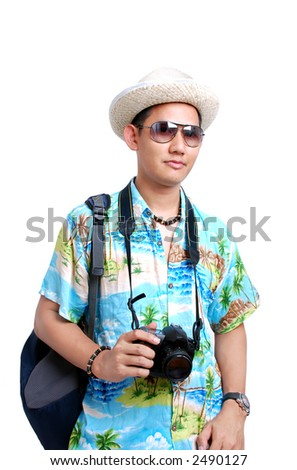 Traveler in vacation mode - stock photo