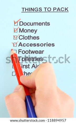 traveler list close-up - stock photo