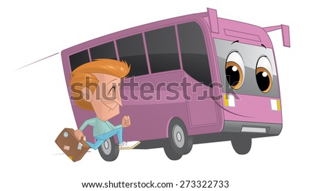 Traveler running alongside a bus - stock photo