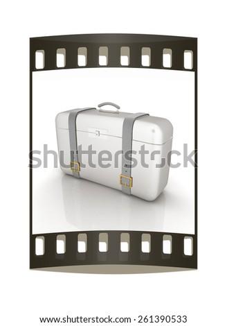 traveler's suitcase. The film strip - stock photo