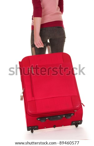 traveler with a suitcase isolated on white - stock photo