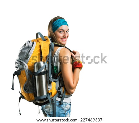 Traveler woman - stock photo