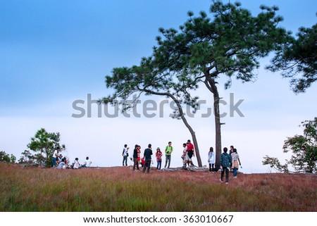 Travelers on Phu Kradueng National Park,Loie province,Thailand : 12 Nov 2012 - stock photo