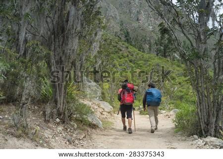 Travelers walking on The Inca Trail KM82, Machu Picchu, Peru - stock photo