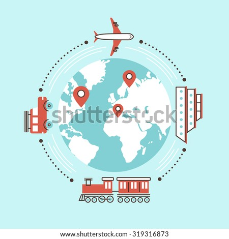 traveling around the world by different transportation in flat design - stock photo