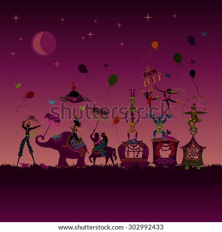 traveling colorful circus caravan with magician, elephant, dancer, acrobat and various fun characters in one row at night - stock photo