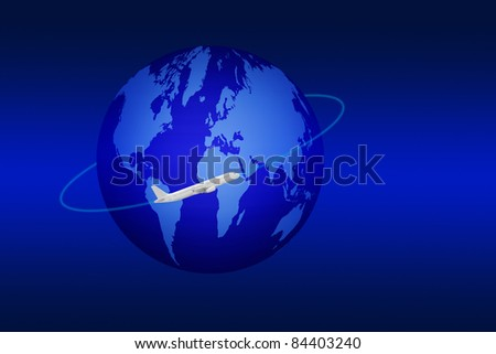 traveling concept, white plane flying around the world - stock photo