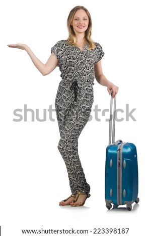 Traveling concept with person and luggage - stock photo