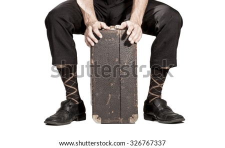 Traveling old school suitcase - stock photo