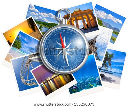 Traveling photos collage with compass isolated on white background - stock photo