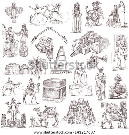 Traveling series: MIDDLE EAST - collection of an hand drawn illustrations. Description: full sized hand drawn illustrations isolated on white. - stock photo