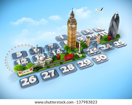 traveling to London. One week at the calendar - stock photo