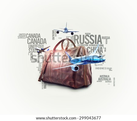 travelling creative concept - white background. - stock photo