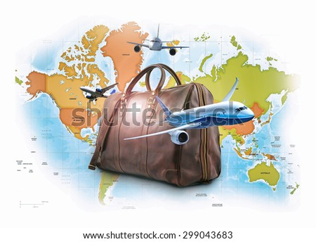 travelling creative concept - with map of world. - stock photo