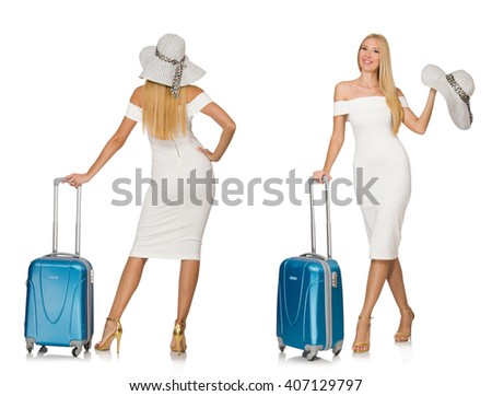 Travelling woman with suitcase isolated on white - stock photo
