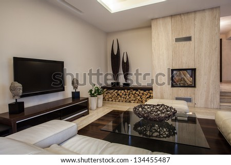 Travertine house: Braided decoration in the living room - stock photo