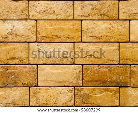 Travertine stone wall - stock photo