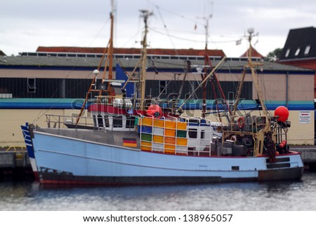 trawler in the harbor, selective focus - stock photo
