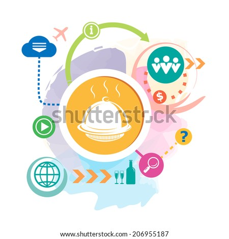 Tray and cloud on abstract background. Raster version for the print, advertising. - stock photo