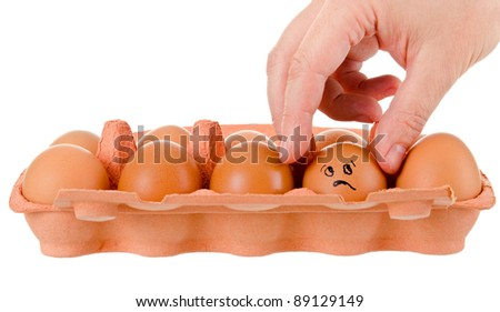 tray of chicken eggs on a white background - stock photo