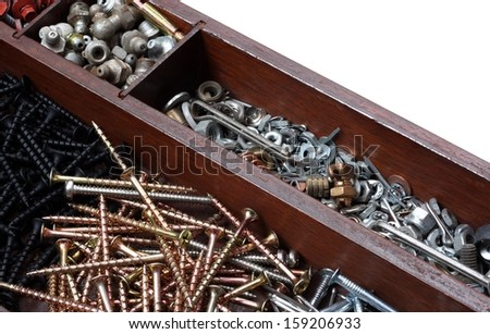 Tray of Construction Hardware. Screws, Nuts, Bolts, Nails, and Washers on a White Background - stock photo