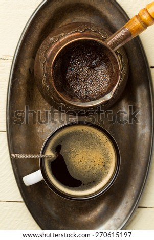 Tray of freshly made coffee (top view close-up) - stock photo