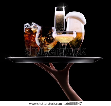 tray with different drinks on black background - champagne, beer, cocktail, wine, brandy, whiskey, scotch, vodka, cognac - stock photo