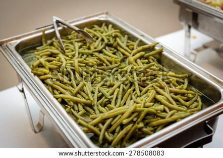Tray with green beans - stock photo