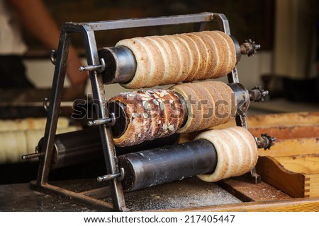 Trdelnik, a traditional Hungarian cake and sweet pastry, here also a tradition in Prague  - stock photo