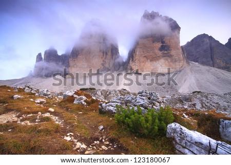 Tre cime di Lavaredo, Dolomite Alps, Italy - stock photo