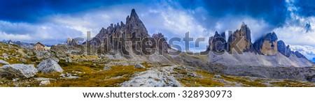 Tre Cime di Lavaredo, Dolomites, Italy, panorama - stock photo
