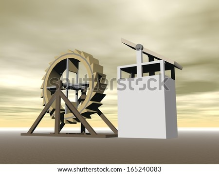 Tread-wheel machine-gun, crossbow designed by Leonardo da Vinci (1470-1520) - stock photo