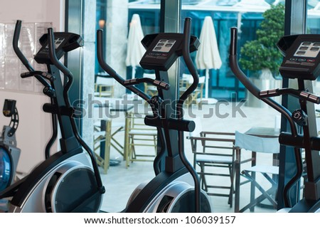 Treadmill in the gym - stock photo