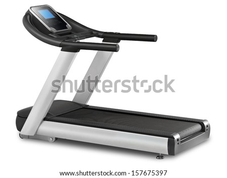 Treadmill isolated on white background - stock photo