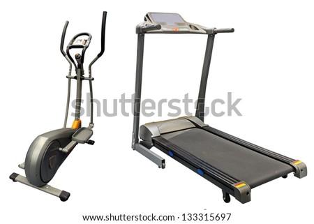 treadmills isolated under the white background - stock photo