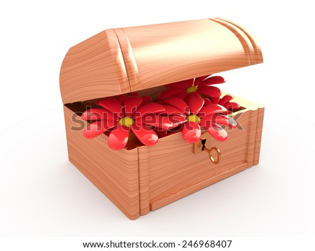 Treasure box with flowers, 3D  - stock photo