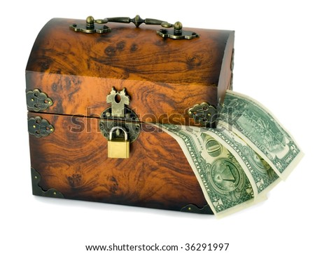 treasure chest and dollars isolated on white background - stock photo