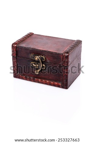 Treasure Chest : Closed wooden chest with reflection and shadows on white background - stock photo