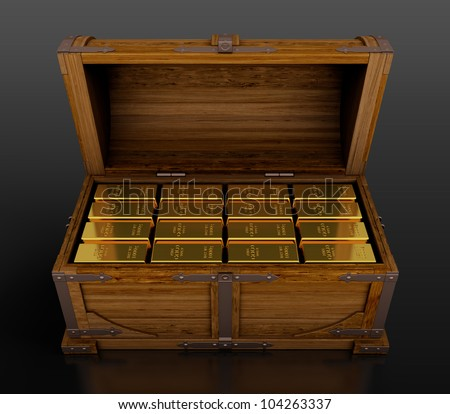 Treasure chest full of gold bars on black background - stock photo