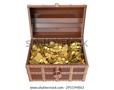 Treasure chest on white background. 3D image - stock photo