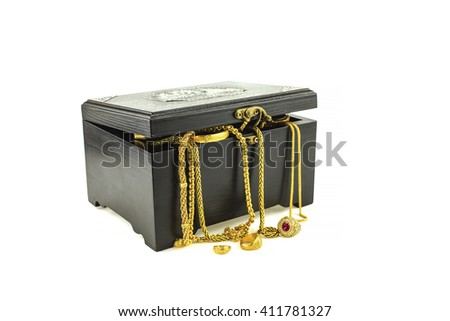 Treasure chest with gold on white background - stock photo