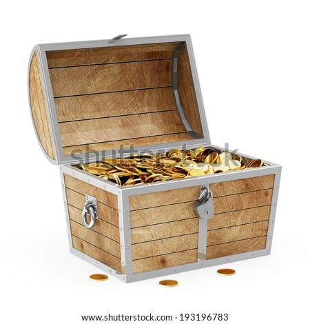 Treasure Chest with Golden Coins isolated on white background - stock photo