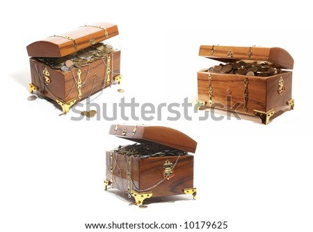 Treasure chests isolated on white background - stock photo
