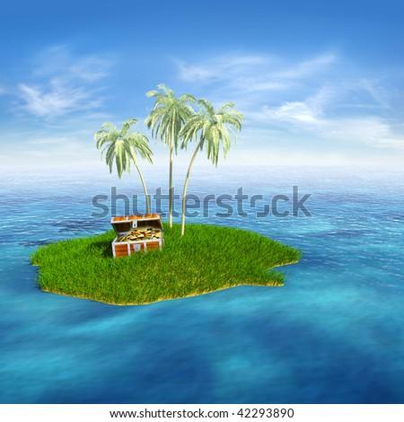 Treasure island. Hi-res digitally generated image. - stock photo