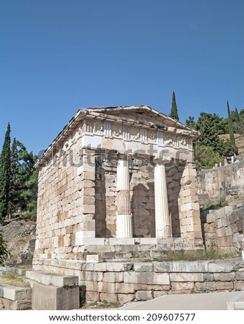 Treasure of the Athenians at Delphi oracle archaeological site in Greece - stock photo
