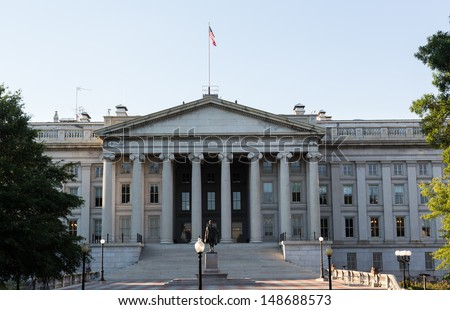 Treasury Building in Washington, D.C. is a National Historic Landmark building which is the headquarters of the United States Department of the Treasury. 1836-1869. - stock photo